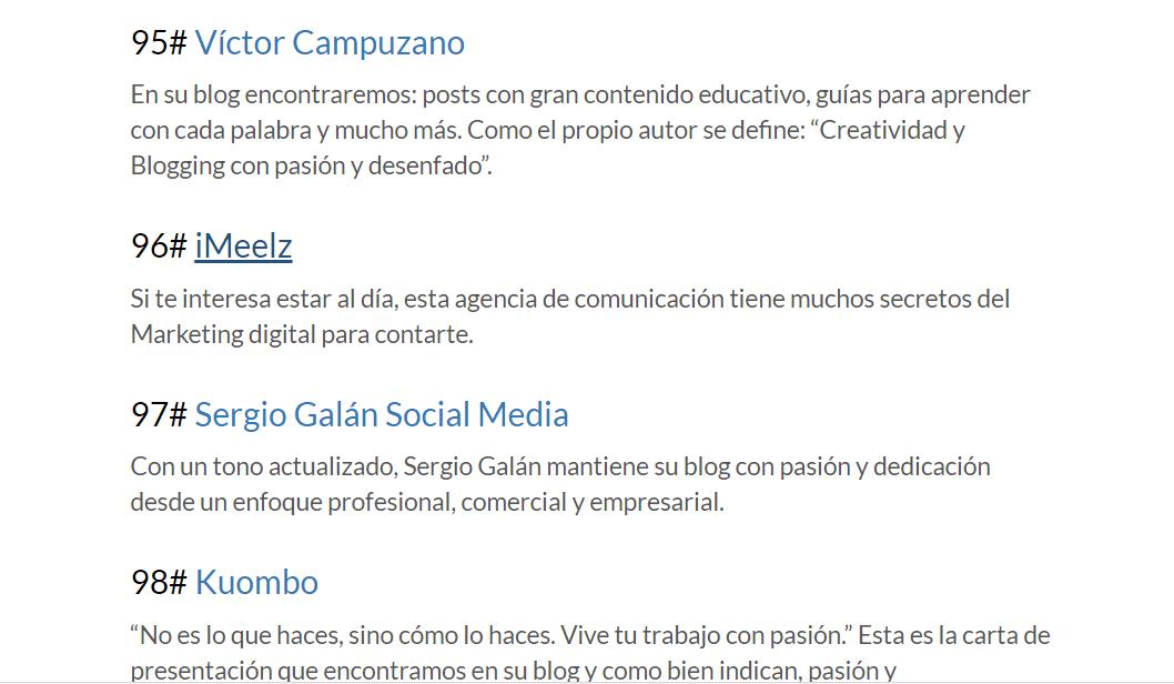 iMeelZ entre los mejores blogs MARKETING DIGITAL según IEBS - Reconocimientos
