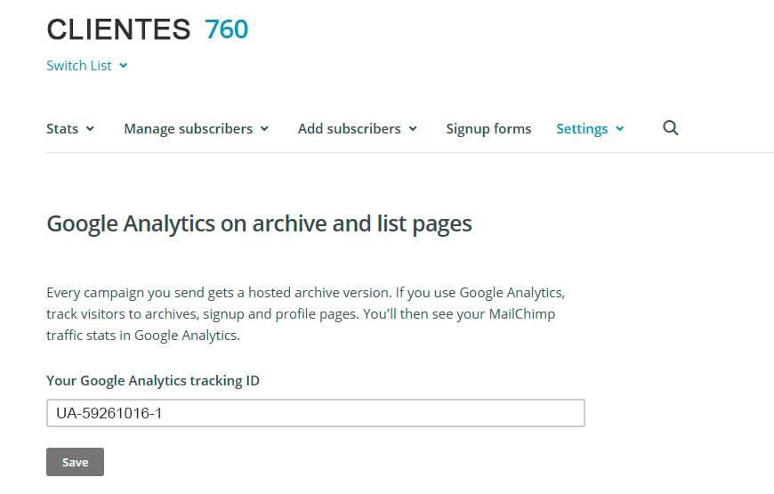 pega tu código ID de Analytics 870x555 - 5 Pasos para configurar el seguimiento de tus campañas de Mailchimp con Google Analytics.