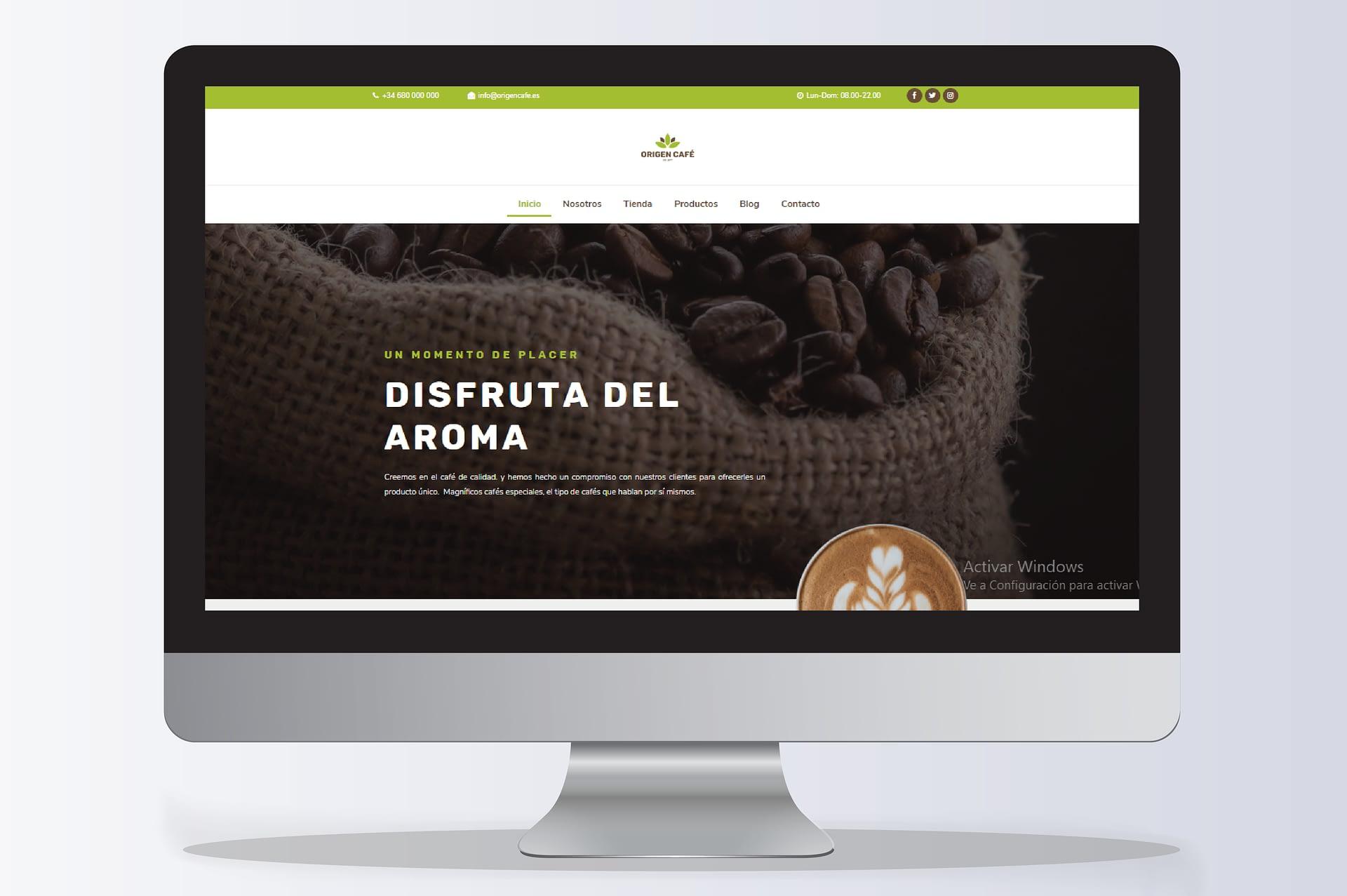 Diseño Web Tenerife Origen Cafe imeelz - Trabajos