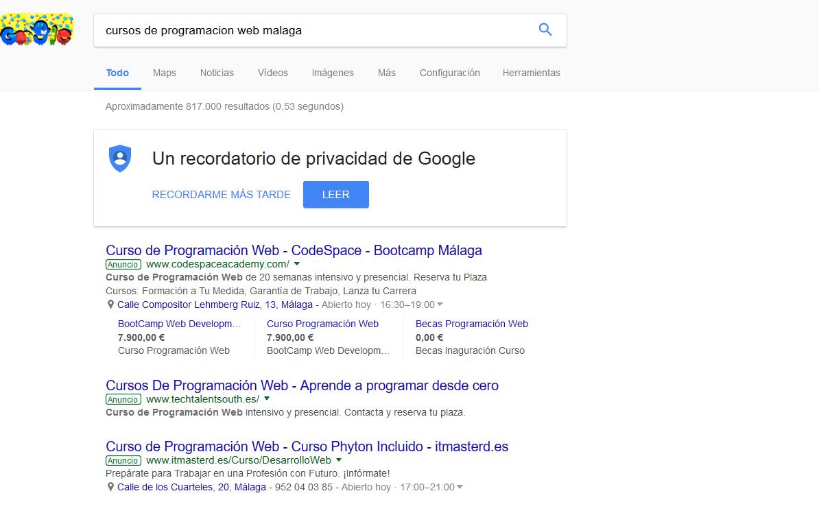 Publicidad Google Adwords TTS iMeelZ - Trabajos